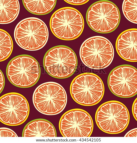 Bright seamless pattern with fruit. Perfect for card designs, textiles, decorative paper, albums, books, and so on.
