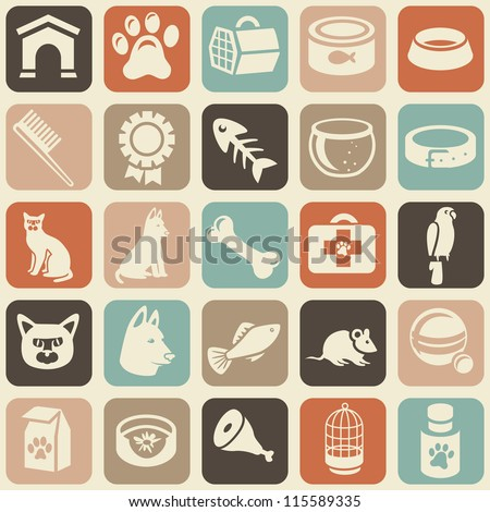 bright seamless pattern with funny cat and dog icons - vector illustration - stock vector