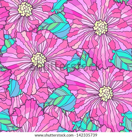 Bright seamless pattern with hand-drawn big flowers and leaves. - stock vector