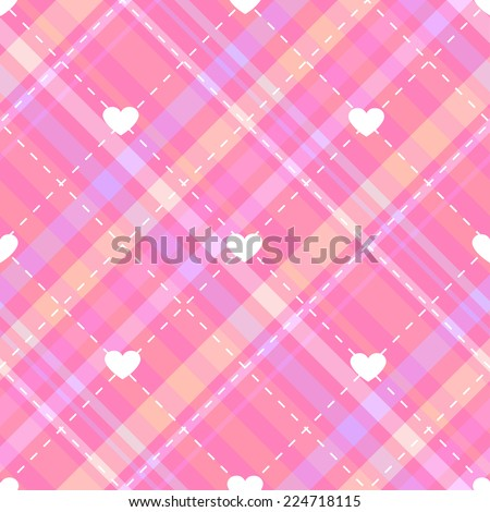 Bright seamless pattern with pink diagonal stripes, hearts, embroidered diamonds and cells for girls - stock vector