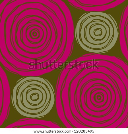 Bright seamless summer circle pattern. Endless rose texture with decorative hand drawn elements, template for design and decoration - stock vector