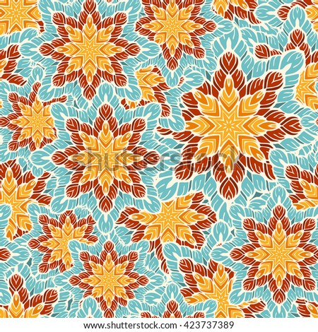 Bright seamless vector pattern with decorative floral elements and patterned with stars. Stylized hand-drawn graphics. Juicy bright and cheerful shades of yellow, blue and red. - stock vector