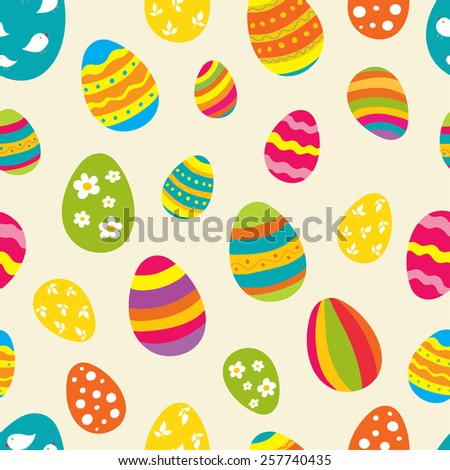 Bright seamless vector pattern with Easter eggs. Ideal for celebration card, wrapping paper, textile, wallpaper, web pages background, scrap booking - stock vector