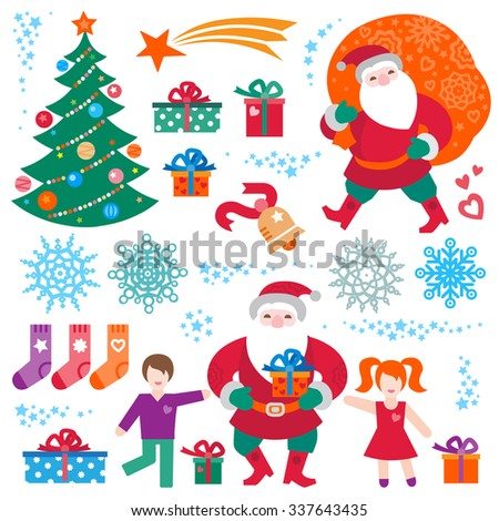 Bright set of Christmas vector elements, winter holidays icons collection. Funny Santa Claus with bag of gifts, Christmas tree, happy kids, snowflakes. New Year's decor for design template. - stock vector
