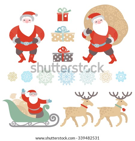 Bright set of Christmas vector elements, winter holidays icons collection. Santa Claus with bag of gifts, Santa Claus in sleigh, snowflakes. Happy New Year's decor for design template.