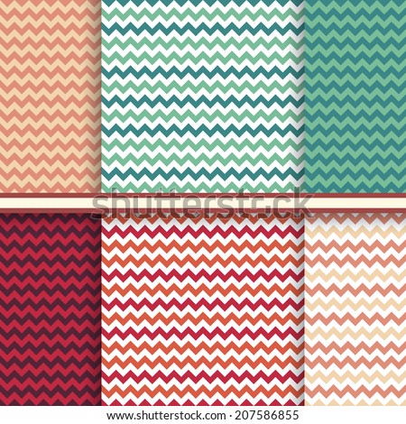 Bright set of seamless patterns with fabric chevron texture - vector abstract geometric background