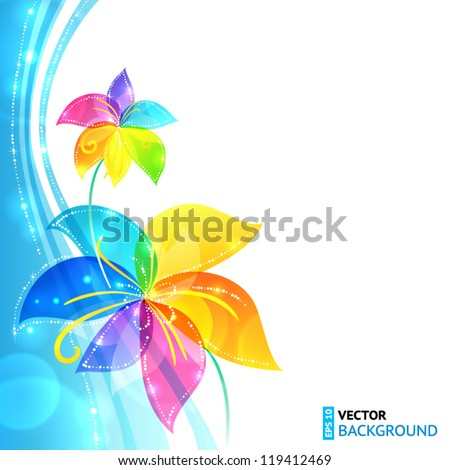 Bright shining rainbow flowers vector background - stock vector