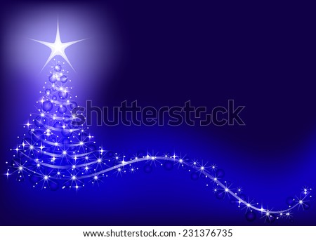 Bright, shiny Christmas tree on a blue background. - stock vector
