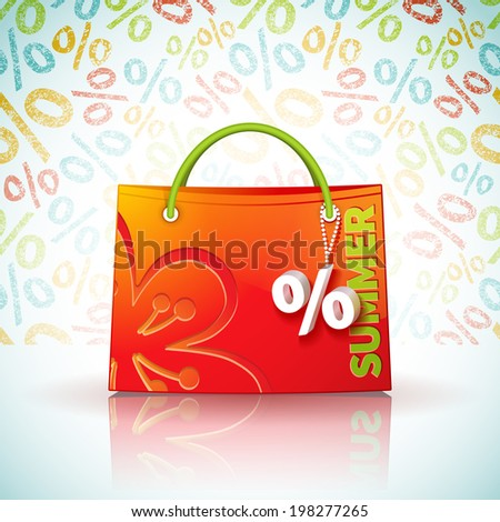 Bright shopping bag with advertising seasonal summer sale and fob as a sign of percent - stock vector