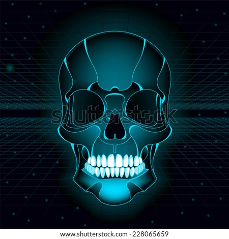 Bright Skull with neon colors, floating in space. - stock vector