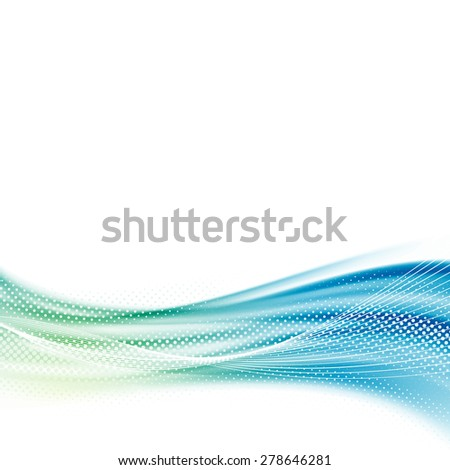Bright smooth satin swoosh wave background template abstract fresh spring modern dotted particle layout. Vector illustration - stock vector
