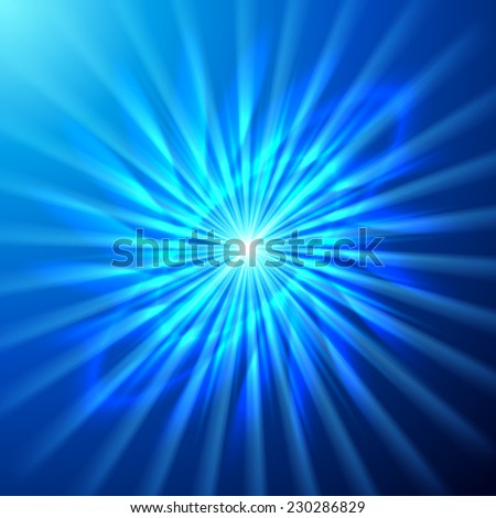 Bright space star in blue and cyan hues - stock vector