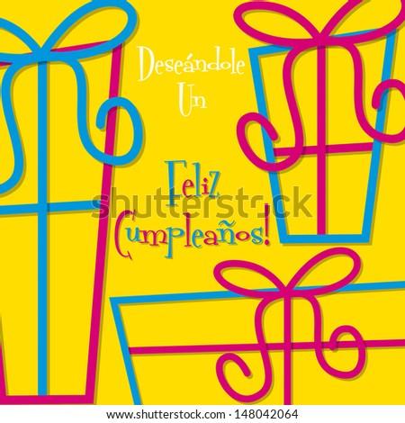 Bright Spanish Happy Birthday Card Vector Stock Vector 148042064