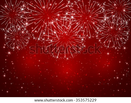 Bright sparkling fireworks on red shiny background, illustration. - stock vector