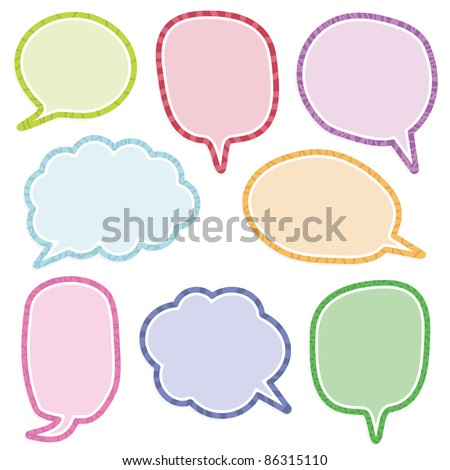 bright speech bubble decorations with copy space - stock vector