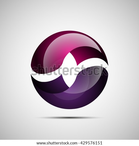Bright sphere logo infinity symbol  - stock vector