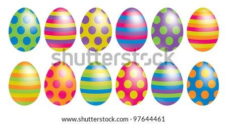 Bright spotty and striped Easter eggs in vector format. - stock vector