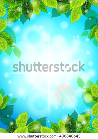 Bright Spring realistic background, blue sky, green leaves. The sun's rays, glare, glow. Template for web design. Vector illustration - stock vector