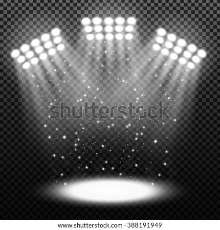 Bright stadium spotlights on transparent background - stock vector