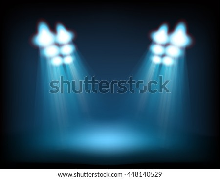 Bright stage with spot lights. Template for a content - stock vector