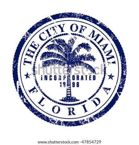 Bright stamp with the symbol of the city of Miami in Florida.