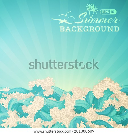 Bright summer background. Sea or ocean waves and sunbeams. There is place for text in the sky. - stock vector