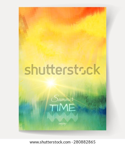 Bright summer background. Vector watercolor.The illustration contains transparency and effects. EPS10  - stock vector