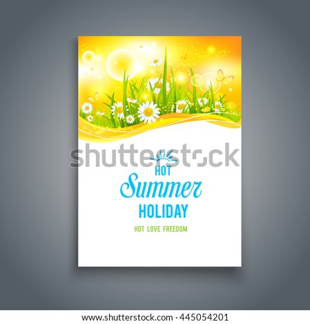 Bright summer blank. Nature template for design banner,ticket, leaflet, card, poster and so on. - stock vector