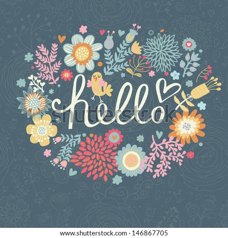 Bright summer card on floral seamless background. Floral design for ideal wedding invitations in vector. Romantic card made of flowers in bright colors - stock vector