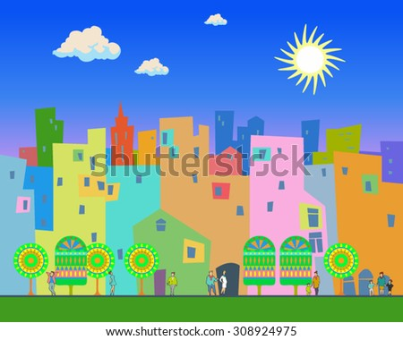 Bright summer day in the city. Illustration of the city, with color silhouette of buildings, trees and walking people and with a bright sun and clouds in the background. Urban scene. Flat style.Poster