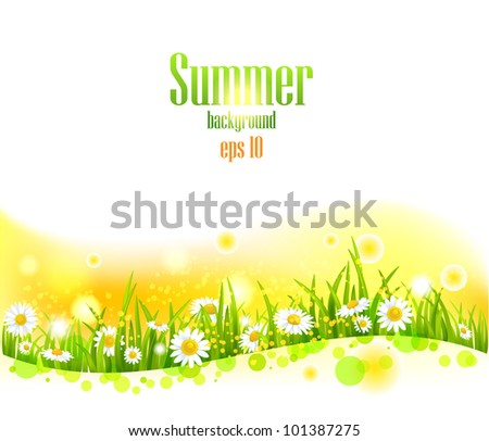 Bright summer flowers  background with space for text. - stock vector