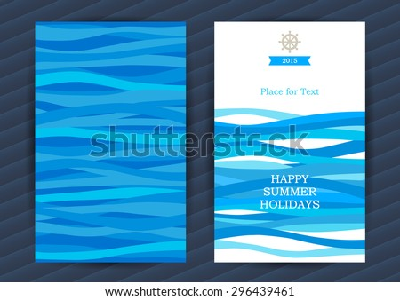 Bright Summer Holidays cards with sea elements. Sea pattern with blue waves. Place for your text. Template frame design for banner, placard, invitation. Marine life vector background. - stock vector