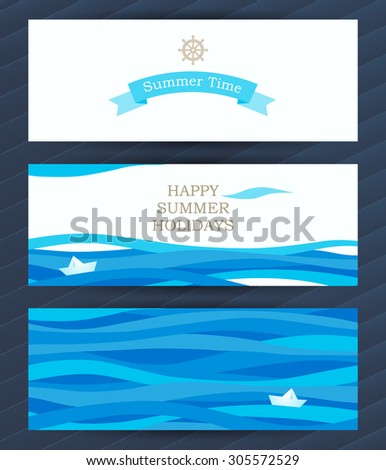 Bright Summer Holidays cards with sea elements. Sea pattern with paper boat and waves. Place for your text. Template frame design for banner, placard, invitation. Blue vector background. - stock vector