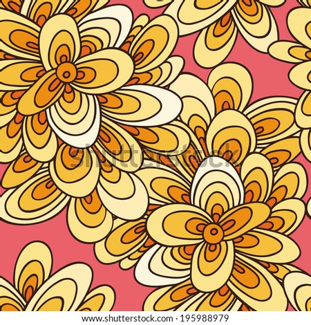 bright summer seamless pattern in yellow and hot colors on peach background - stock vector