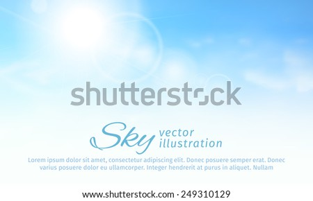 Bright summer sun and clouds. horizontal sky background. vector - stock vector