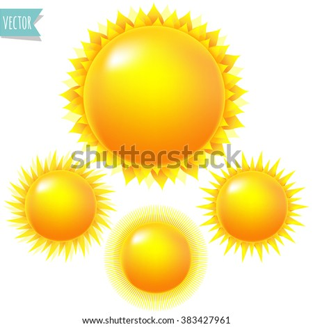 Bright Sun Set With Gradient Mesh, Vector Illustration - stock vector