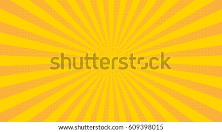 Bright sunbeams background with yellow dots. Abstract background with halftone dots design. Vector illustration.