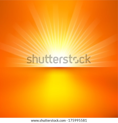 Bright sunbeams, shiny summer background with vibrant yellow & orange colors. Perfect light striped background - stock vector