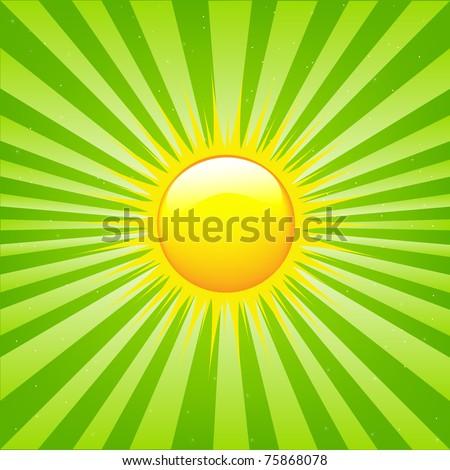 Bright Sunburst With Beams And Sun, Vector Illustration - stock vector