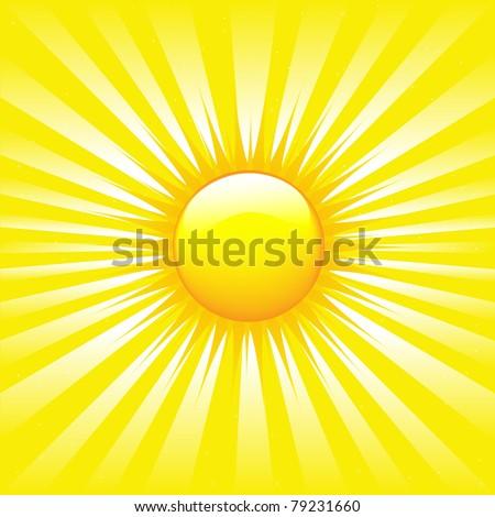 Bright Sunburst With Beams, Vector Illustration - stock vector