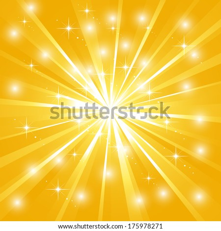 Bright sunburst with sparkles - stock vector