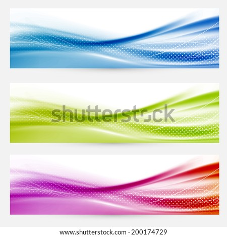 Bright swoosh lines headers footers templates. Vector illustration - stock vector