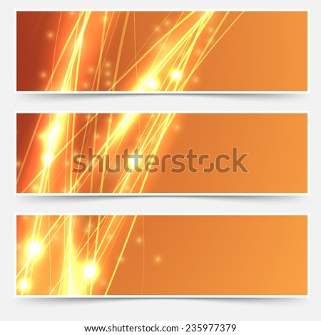 Bright swoosh speed line abstract header set - electric streak shimmering. Vector illustration - stock vector