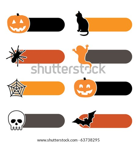 bright tabs with halloween motifs isolated on white - stock vector