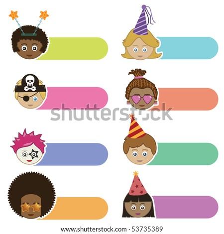 bright tabs with party kids faces isolated on white - stock vector