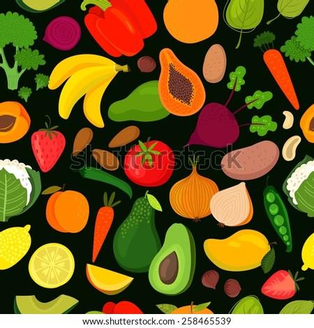 Bright tasty seamless pattern with banana, mango, papaya, orange, lemon, strawberry, avocado,peach,spinach, broccoli, carrots, beet, pepper, cauliflower, potatoes, onion, tomatoes and green peas - stock vector