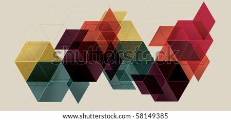 Bright Transparent Gradient Cube Background - stock vector
