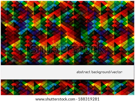 bright triangles background with frame for your text - stock vector