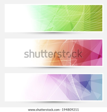 Bright triangular cards with swoosh lines. Vector illustration - stock vector