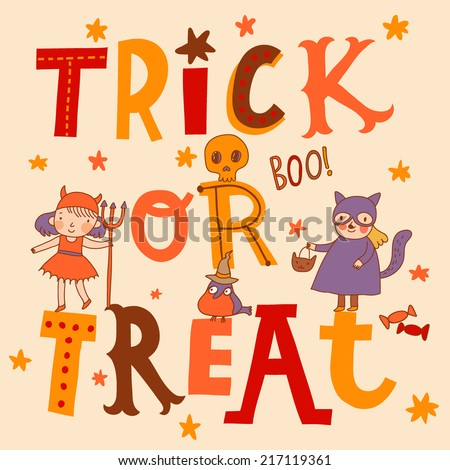 Bright trick or treat card in vector. Stylish halloween background in cartoon style. Cute boys and girls in holiday costumes - stock vector